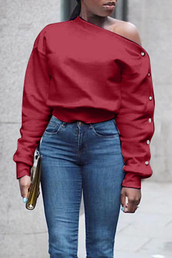 Lovely Trendy Long Sleeves Wine Red Sweats