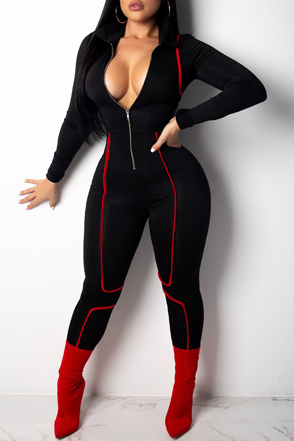 Lovely Casual Long Sleeves Zipper Black Skinny One-piece Jumpsuit