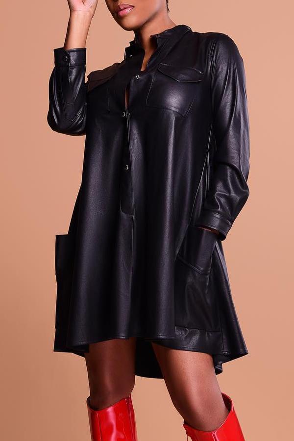 Lovely Fashion Long Sleeves Black PU Knee Length Dress