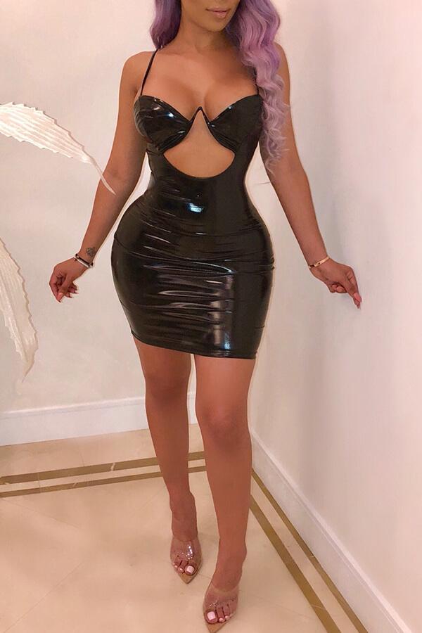 Correa De Espagueti Encantadora Moda Mini Vestido De PU Negro