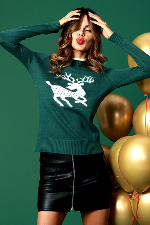 Lovely Casual Elk Pattern Green Cotton Blends Sweaters