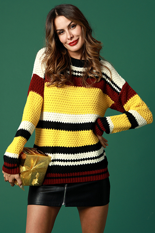 Lovely Casual Striped Patchwork Yellow Cotton Sweaters