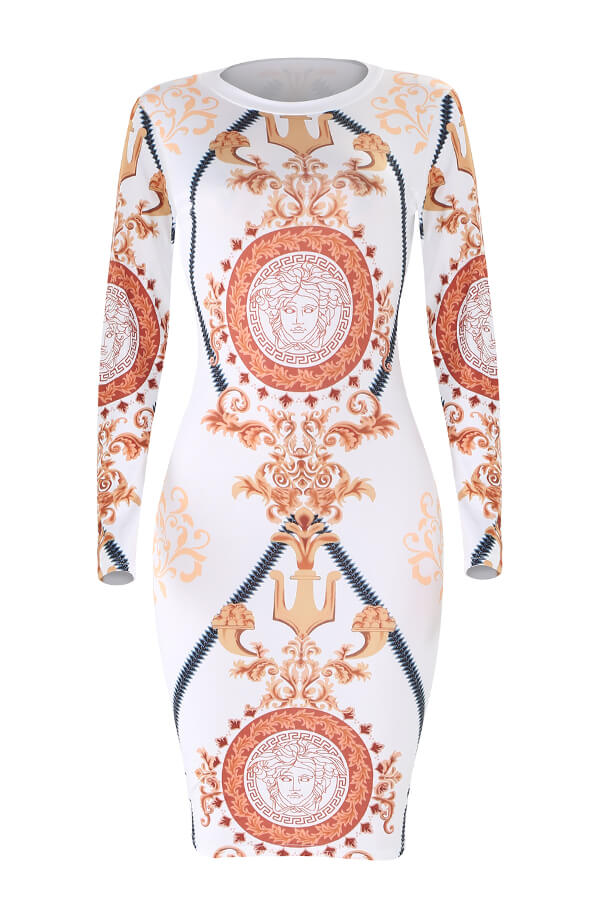 Lovely Casual Printed White Knitting Mid Calf Dress