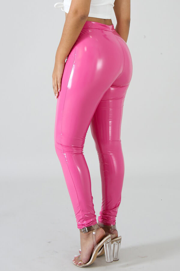 Lovely Fashion Rose Red PU Skinny Pants
