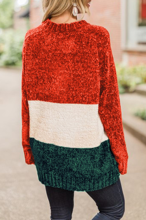 Lovely Fashionable Long Sleeve Multicolor Splicing Sweaters