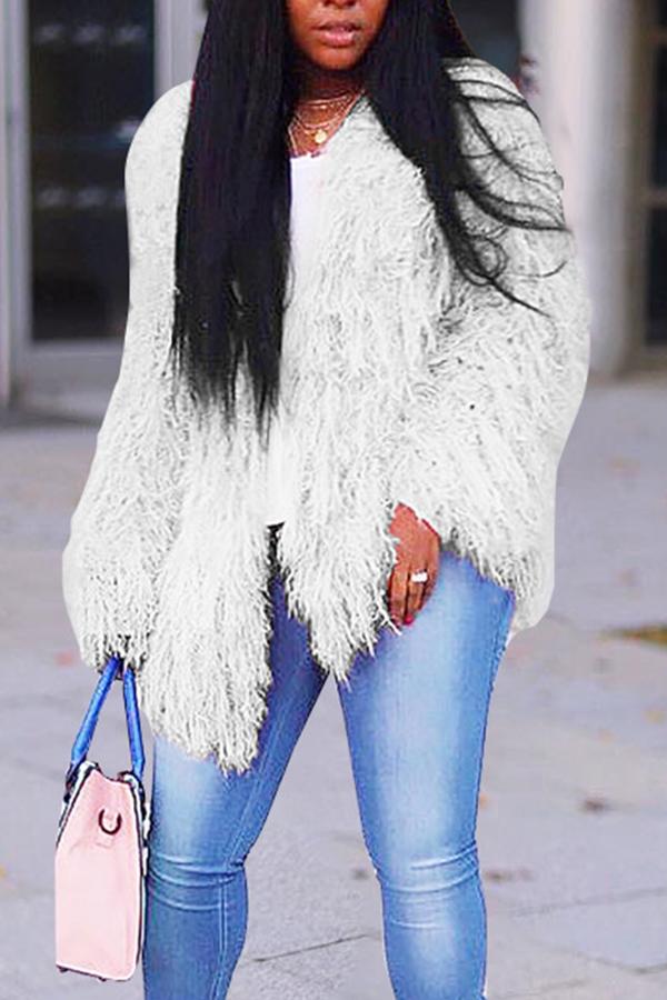 Lovely Casual Long Sleeves White Velvet Coat