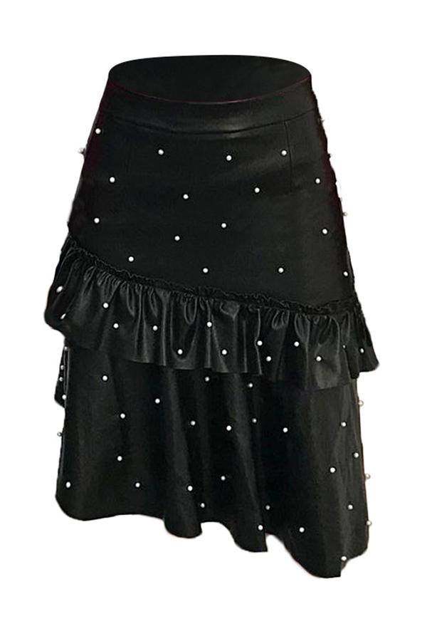 Lovely Sweet Pearl Decorative Black PU Skirts