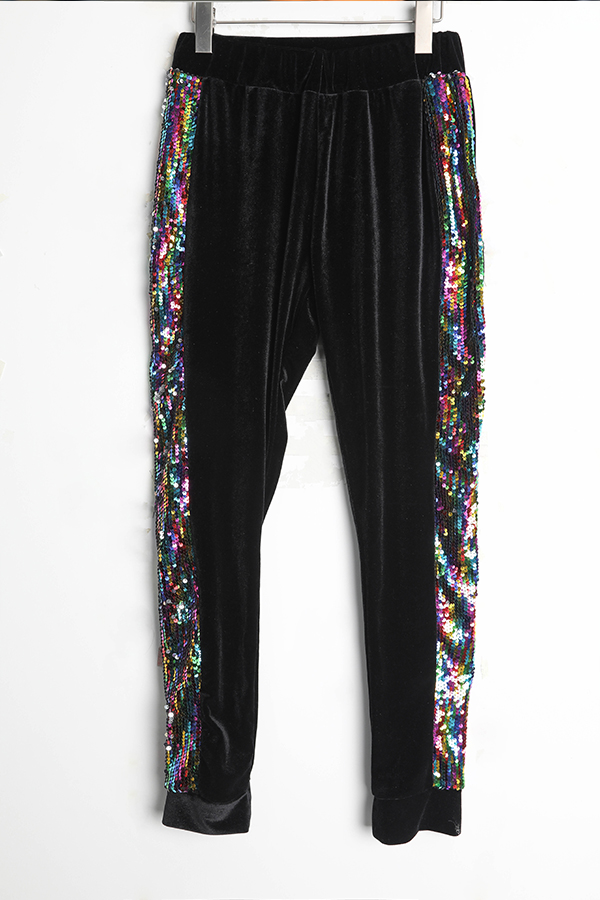 Lovely Casual Sequined Decorative Black Two-piece Pants Set