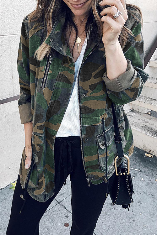lovelywholesale / Lovely Casual Camouflage Printed Cotton Blends Coat