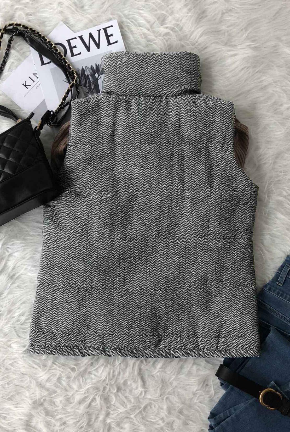 Lovely Casual Dark Grey Velvet Vests