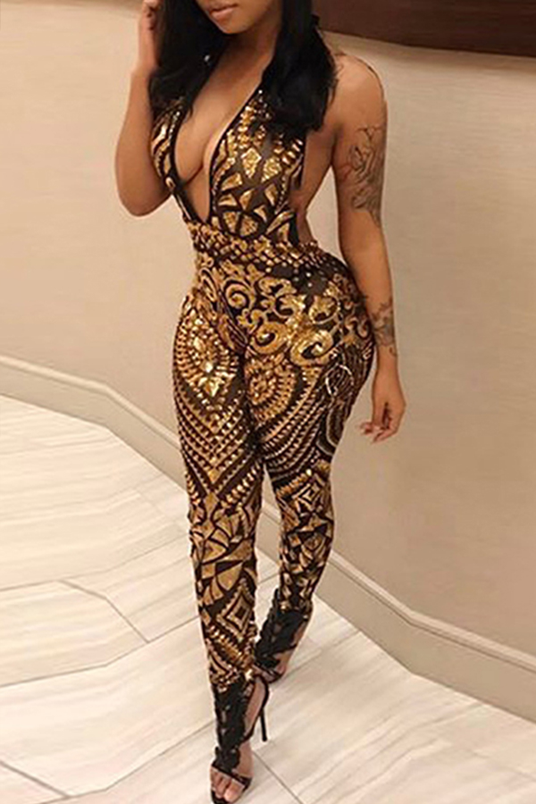 Lovely Sexy Deep V Neck Sleeveless Backless Gold  Sequined One-piece Skinny Jumpsuits