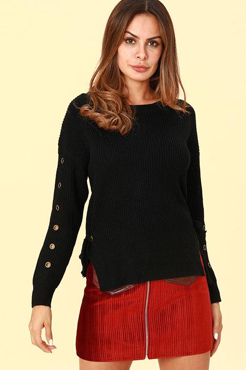 Lovely Euramerican Porous Design Black Cotton Blends Sweaters