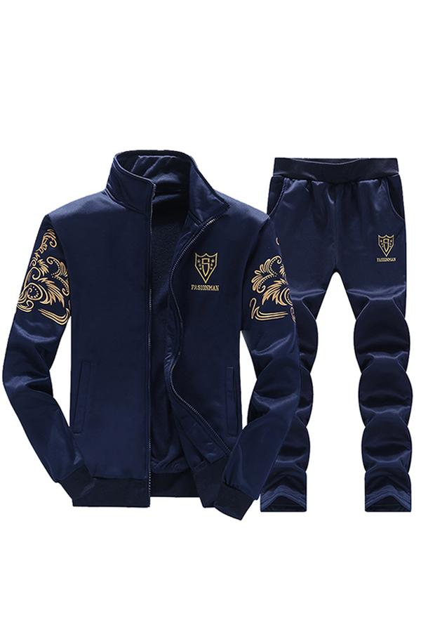 Lovely Euramerican Printed Deep Blue Two-piece Pants Set