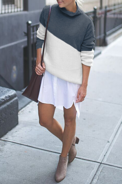 Lovely Casual Long Sleeves Patchwork Blue Sweaters