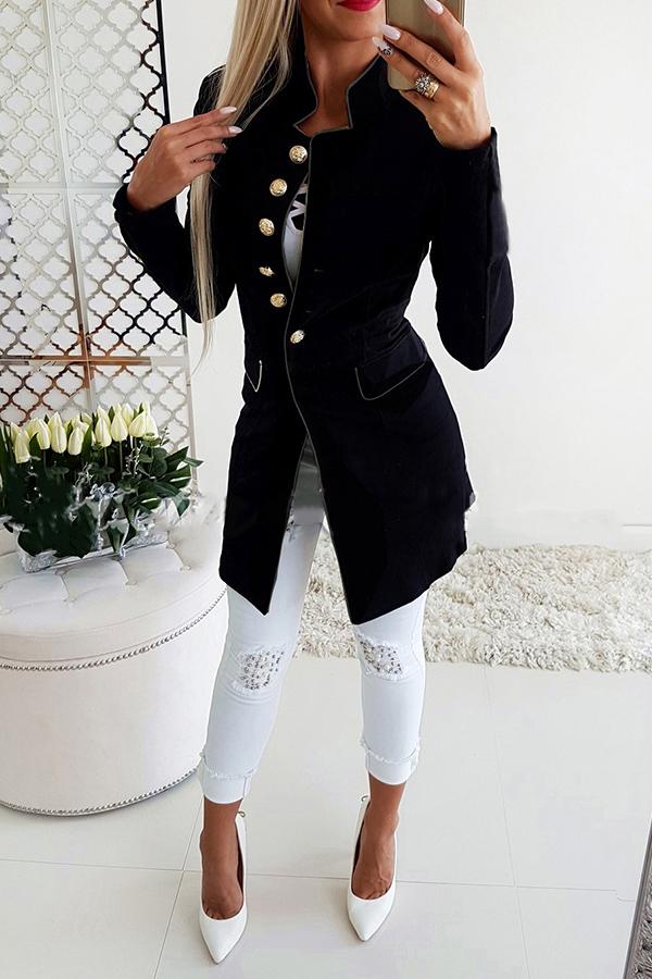 Lovely Temperament Buttons Decorative Black Coat