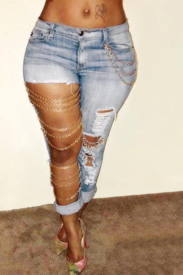 Lovely Fashion Mid Waist Broken Holes Light Blue Denim Pants