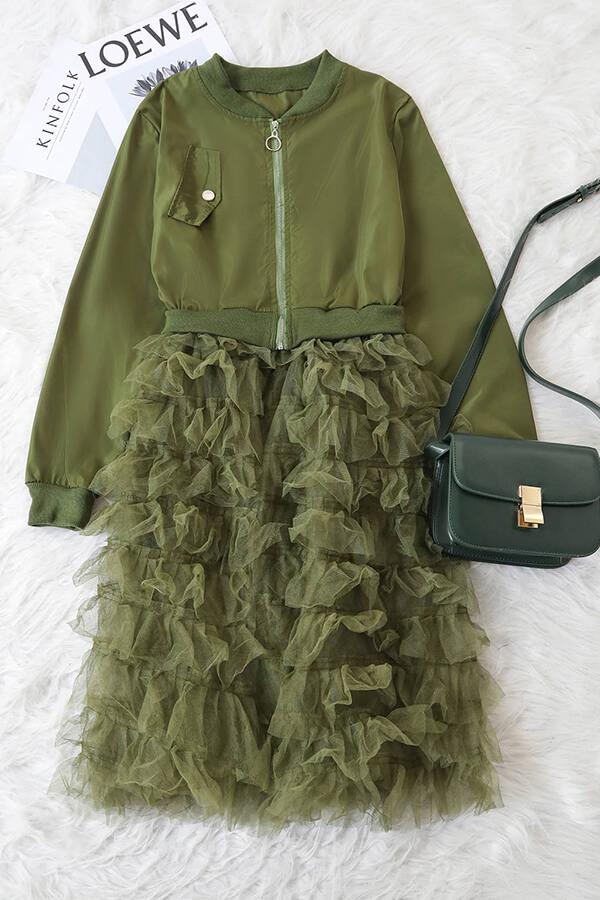 Cremallera Hermosa Moda Ejército Verde Abrigo Largo