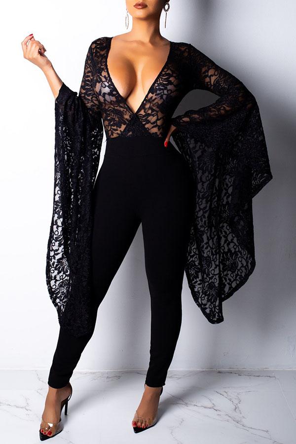 Lovely Trendy Asymmetrical Black Lace One-piece Jumpsuit ...