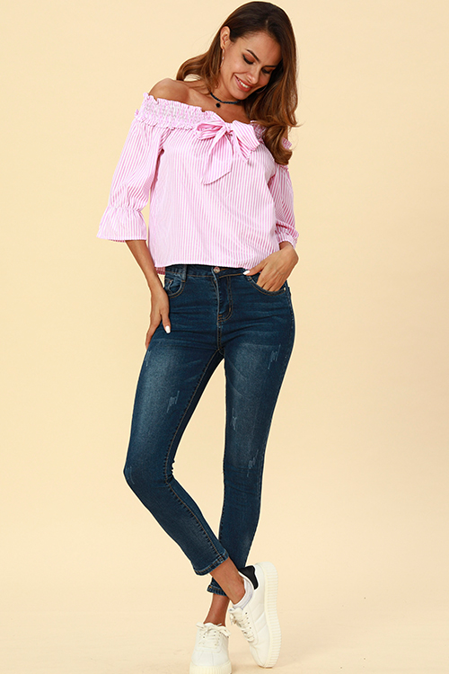 Lovely  Casual Striped Pink Blouses