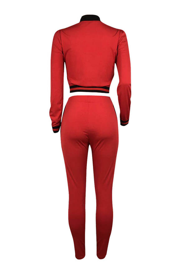 Lovely Fashion Patchwork Skinny Red Two-piece Pants Set
