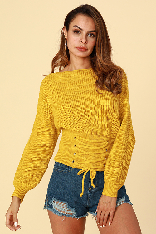 Lovely Trendy Lace-up Yellow Sweaters
