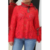 Lovely Sweet Backless Red Lace Shirts