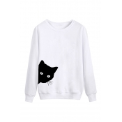 Lovely Casual Cat Head Printing White Cotton Hoodi