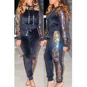 Lovely Casual Sequined Decorative Hooded  Black Two-piece Pants Set