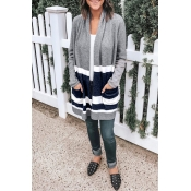Lovely Casual Patchwork Grey Acrylic Cardigan Swea