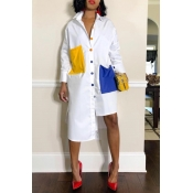 Lovely Euramerican Color Collision Splicing Irregular White Mid Calf Dress