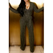 Lovely Sexy Long Sleeves Gold One-piece Jumpsuit