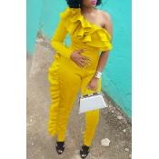Lovely Euramerican Flounce Design Yellow One-piece Jumpsuit