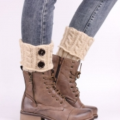 Lovely Casual Button Decorative Beige Leg Warmer S