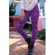 Lovely Trendy Leopard Print Purple Knitting Pants