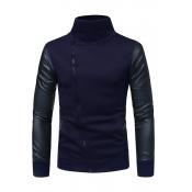 Lovely Casual Long Sleeves Zipper Navy Blue Blende