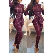 Lovely Casual Long Sleeves Plaids Wine Red One-piece Jumpsuit