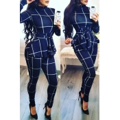 Lovely Casual Long Sleeves Plaids Blue One-piece Jumpsuit