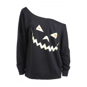 Lovely Casual Sloping Shoulder Halloween Black Hoo