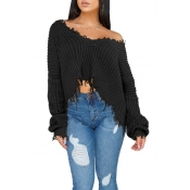 Lovely Casual Torn Edges Black Blending Short Swea