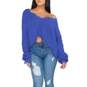 Lovely Casual Torn Edges Blue Blending Short Sweat