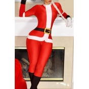 Lovely Casual Christmas Red Blending One-piece Jum