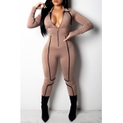 Lovely Casual Long Sleeves Zipper Brown Skinny One-piece Jumpsuit