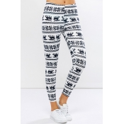 Lovely Trendy Snowflake Printed White Leggings