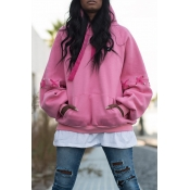 Lovely Casual Draw String Light Pink Cotton Hoodie