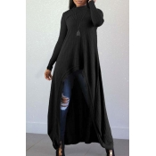 Lovely Casual Long Sleeves Irregular Black Blendin