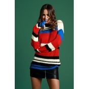 Lovely Casual Striped Patchwork Red Cotton Sweater