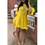 Lovely Sweet Ruffle Design Yellow Blending Mini Dr