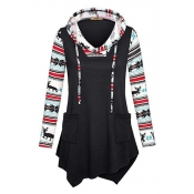 Lovely Casual Printed Patchwork Black Cotton Hoodi