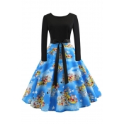 Lovely Sweet Christmas Printed Blue Knee Length Dr