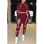 Lovely Attractive Net Yarn Splicing Red Twilled Satin Two-piece Pants Set